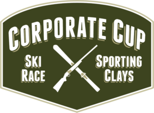 "Logo with a Green background and white text ""Corporate Cup Ski Race and Sporting Clays"