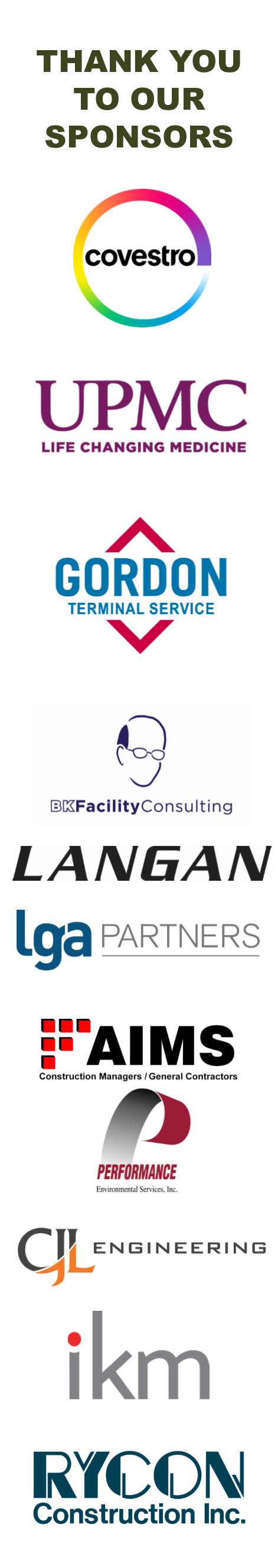 text Thank you to our sponsors followed by logos for Covestro, UPMC, Gordon Terminal Service, BK Facility Consulting, Langan, LGA Partners, AIMS & Performance Environmental, CJL Engineering, IKM Inc, and Rycon Construction