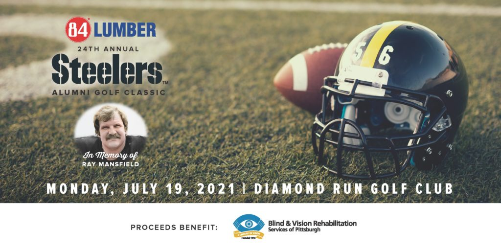 """Image of a football field with a football and helmet with number 56 text """"84 Lumber Steelers Alumni Golf Classic, Monday, July 19, 2021 Diamond Run Golf Club in memory of Ray Mansfield"""""""